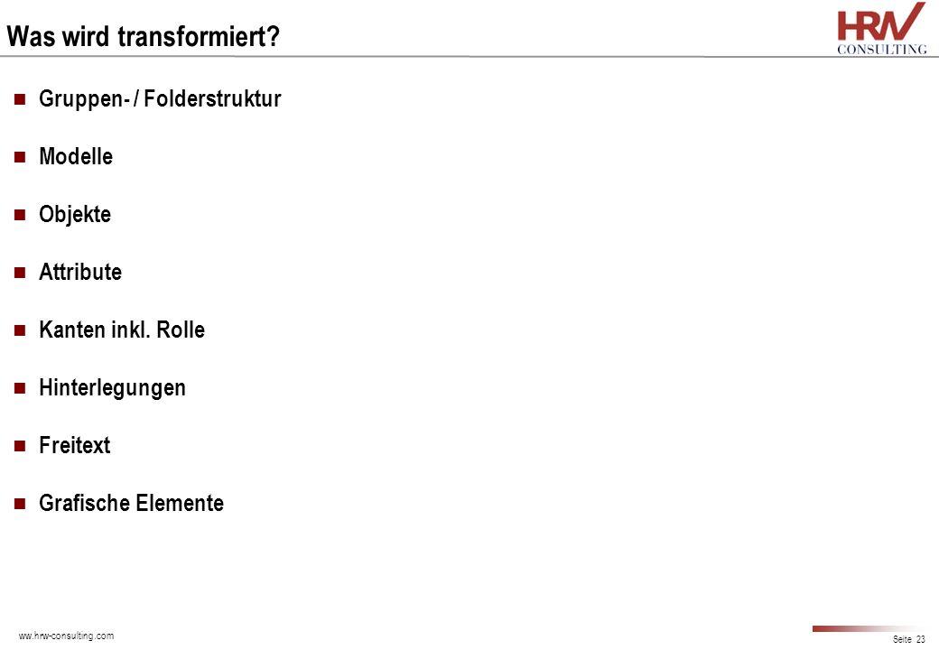 ww.hrw-consulting.com Seite 23 Was wird transformiert? Gruppen- / Folderstruktur Modelle Objekte Attribute Kanten inkl. Rolle Hinterlegungen Freitext