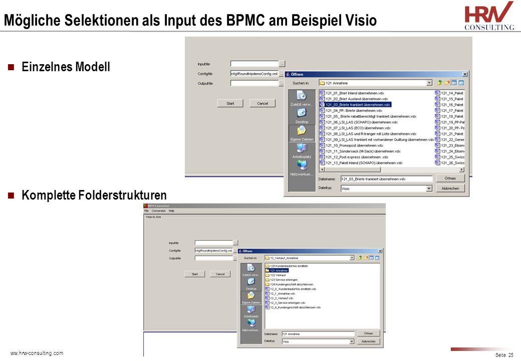 ww.hrw-consulting.com Seite 25 Mögliche Selektionen als Input des BPMC am Beispiel Visio Einzelnes Modell Komplette Folderstrukturen