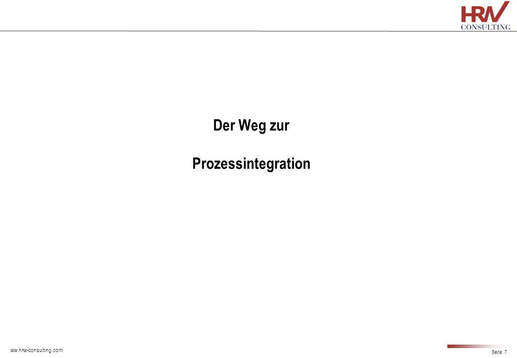 ww.hrw-consulting.com Seite 7 Der Weg zur Prozessintegration