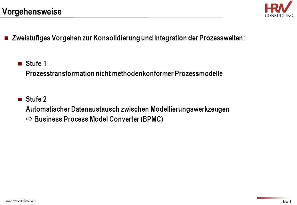 ww.hrw-consulting.com Seite 8 Vorgehensweise Zweistufiges Vorgehen zur Konsolidierung und Integration der Prozesswelten: Stufe 1 Prozesstransformation