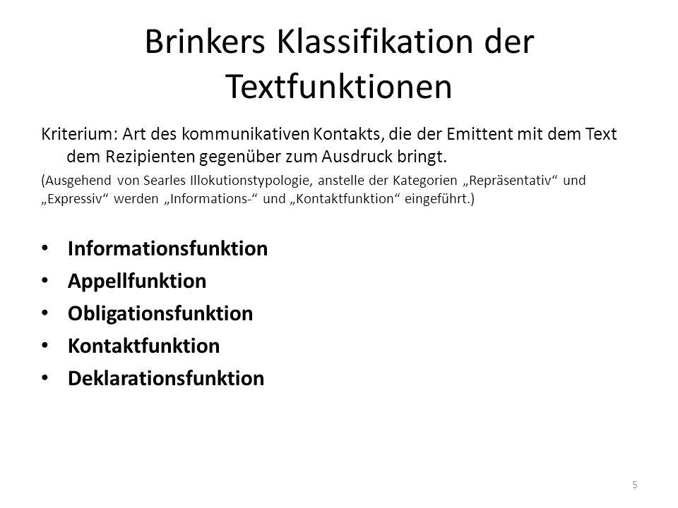 Brinkers Klassifikation der Textfunktionen Kriterium: Art des kommunikativen Kontakts, die der Emittent mit dem Text dem Rezipienten gegenüber zum Aus