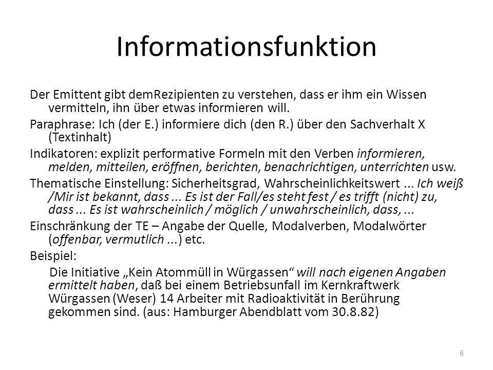 Informationsfunktion Der Emittent gibt demRezipienten zu verstehen, dass er ihm ein Wissen vermitteln, ihn über etwas informieren will. Paraphrase: Ic