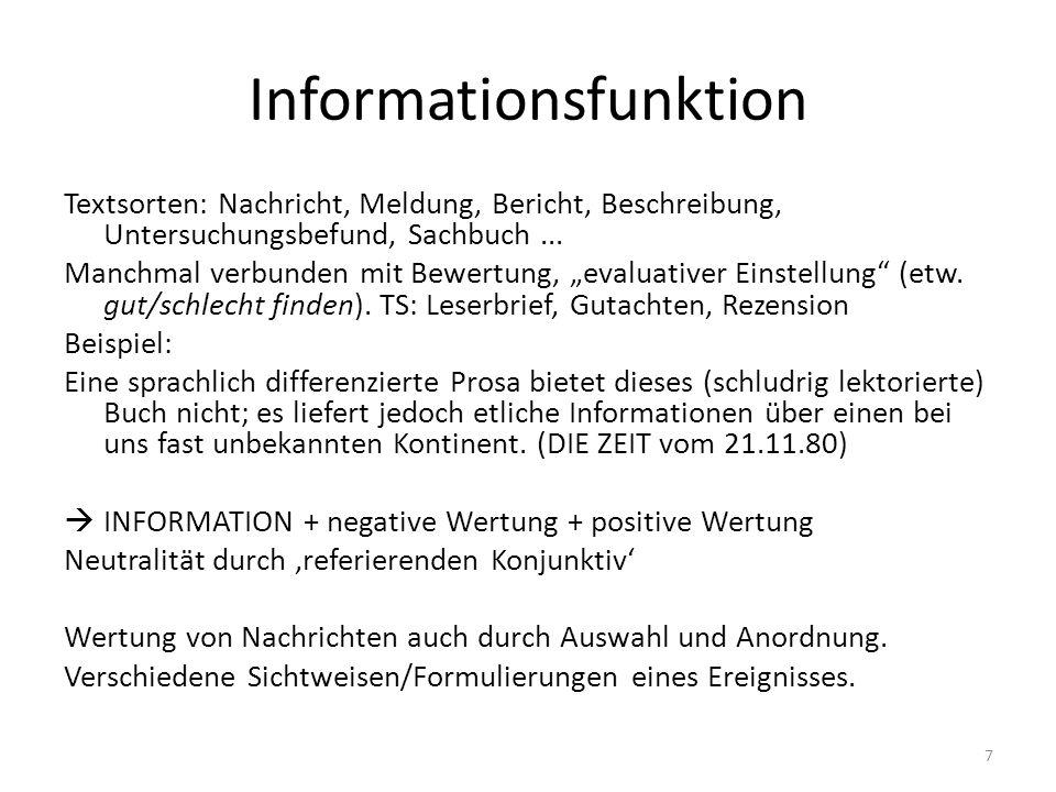 Informationsfunktion Textsorten: Nachricht, Meldung, Bericht, Beschreibung, Untersuchungsbefund, Sachbuch... Manchmal verbunden mit Bewertung, evaluat
