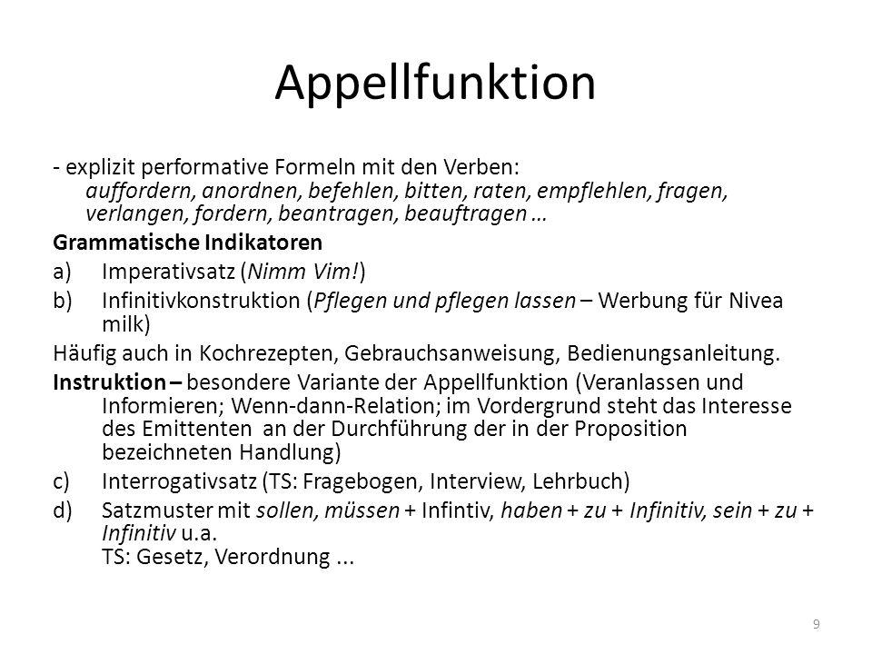 Appellfunktion - explizit performative Formeln mit den Verben: auffordern, anordnen, befehlen, bitten, raten, empflehlen, fragen, verlangen, fordern,