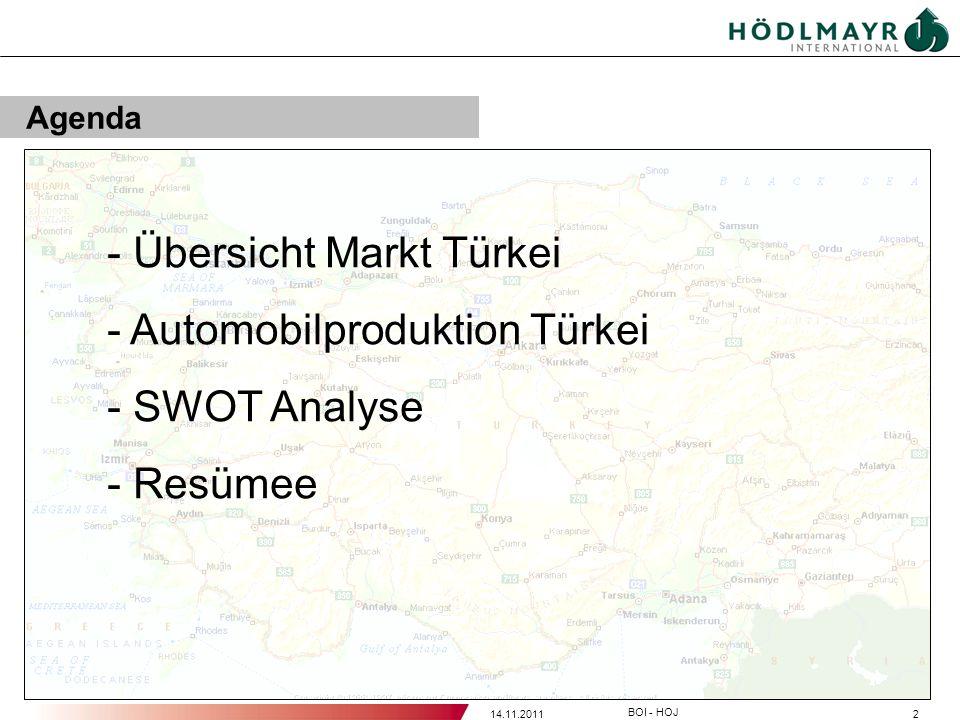 214.11.2011 BOI - HOJ Agenda - Übersicht Markt Türkei - Automobilproduktion Türkei - SWOT Analyse - Resümee