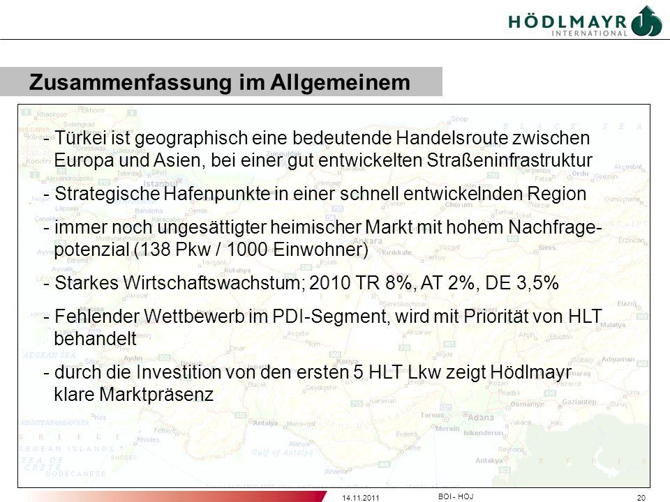 2014.11.2011 BOI - HOJ - Türkei ist geographisch eine bedeutende Handelsroute zwischen Europa und Asien, bei einer gut entwickelten Straßeninfrastrukt