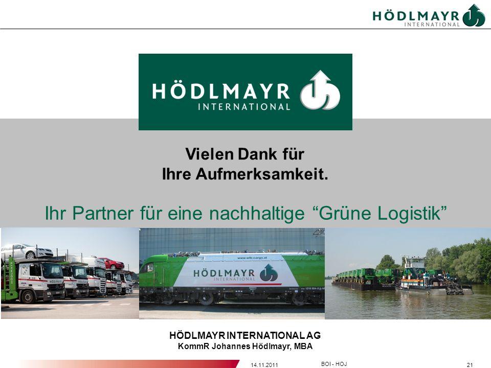 2114.11.2011 BOI - HOJ HÖDLMAYR INTERNATIONAL AG KommR Johannes Hödlmayr, MBA Ihr Partner für eine nachhaltige Grüne Logistik Vielen Dank für Ihre Auf