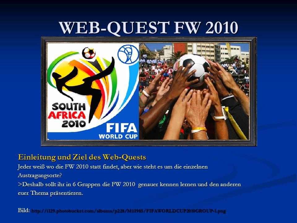 WEB-QUEST FW 2010 Einleitung und Ziel des Web-Quests Jeder weiß wo die FW 2010 statt findet, aber wie steht es um die einzelnen Austragungsorte? >Desh