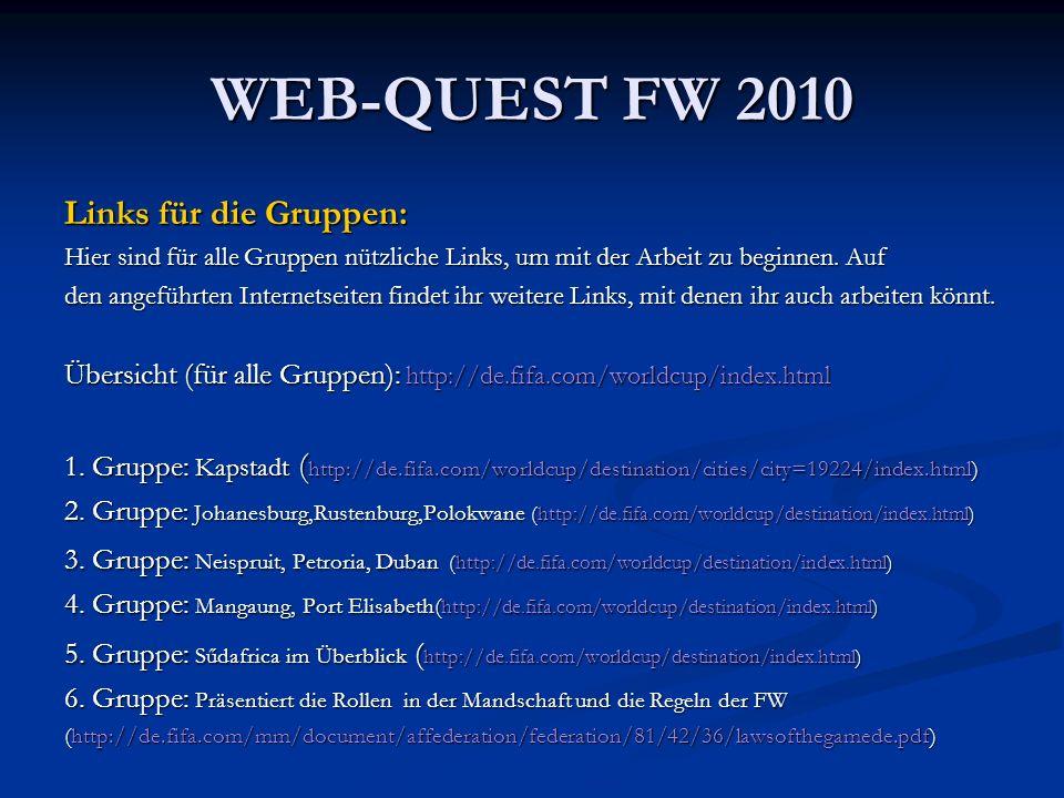 WEB-QUEST FW 2010 Links für die Gruppen: Hier sind für alle Gruppen nützliche Links, um mit der Arbeit zu beginnen. Auf den angeführten Internetseiten