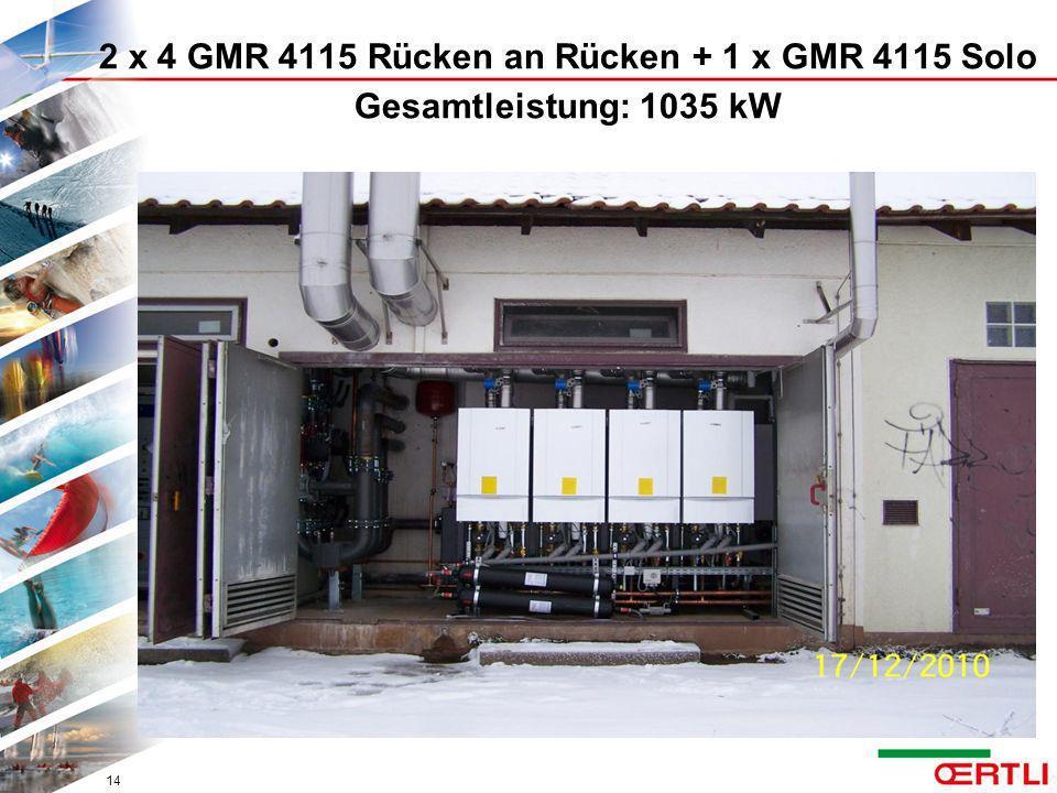 2 x 4 GMR 4115 Rücken an Rücken + 1 x GMR 4115 Solo Gesamtleistung: 1035 kW 14
