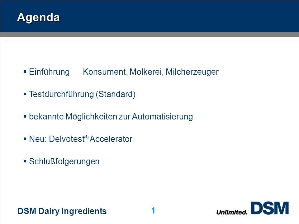 DSM Dairy Ingredients 1 Agenda EinführungKonsument, Molkerei, Milcherzeuger Testdurchführung (Standard) bekannte Möglichkeiten zur Automatisierung Neu: Delvotest ® Accelerator Schlußfolgerungen