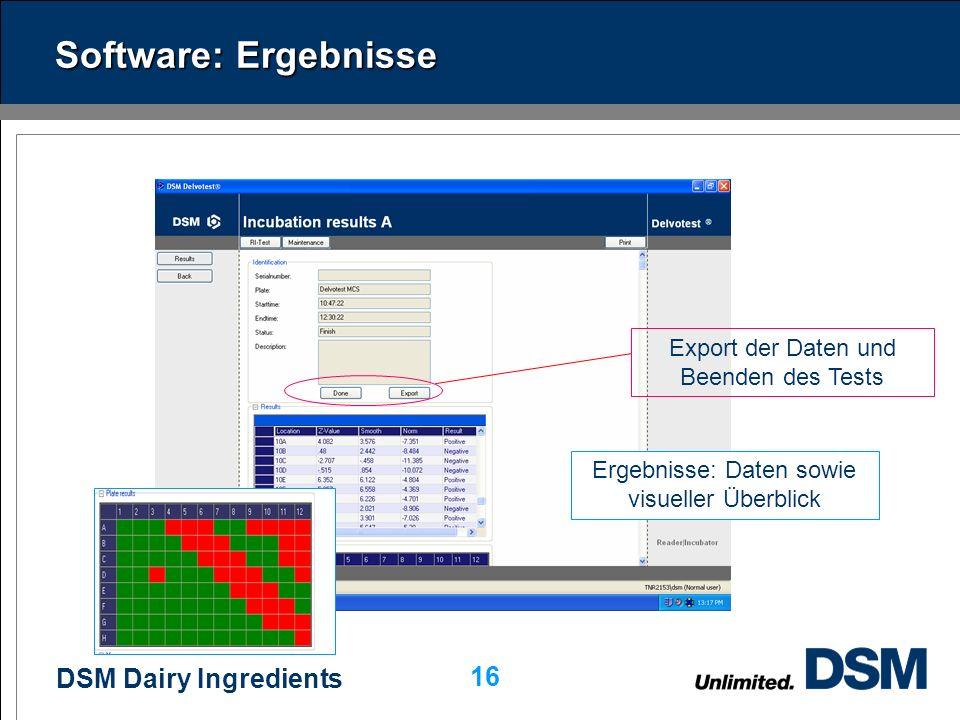 DSM Dairy Ingredients 15 Software: Start Start Kommentare pro Probe