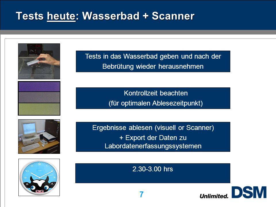 DSM Dairy Ingredients 7 Tests heute: Wasserbad + Scanner Tests in das Wasserbad geben und nach der Bebrütung wieder herausnehmen Ergebnisse ablesen (visuell or Scanner) + Export der Daten zu Labordatenerfassungssystemen Kontrollzeit beachten (für optimalen Ablesezeitpunkt) 2.30-3.00 hrs