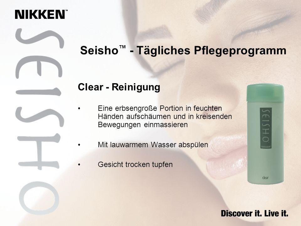 Clear - Reinigung Eine erbsengroße Portion in feuchten Händen aufschäumen und in kreisenden Bewegungen einmassieren Mit lauwarmem Wasser abspülen Gesi