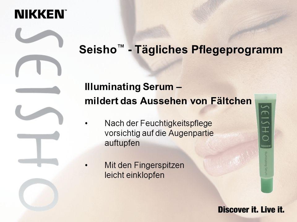 Seisho - Tägliches Pflegeprogramm Illuminating Serum – mildert das Aussehen von Fältchen Nach der Feuchtigkeitspflege vorsichtig auf die Augenpartie a