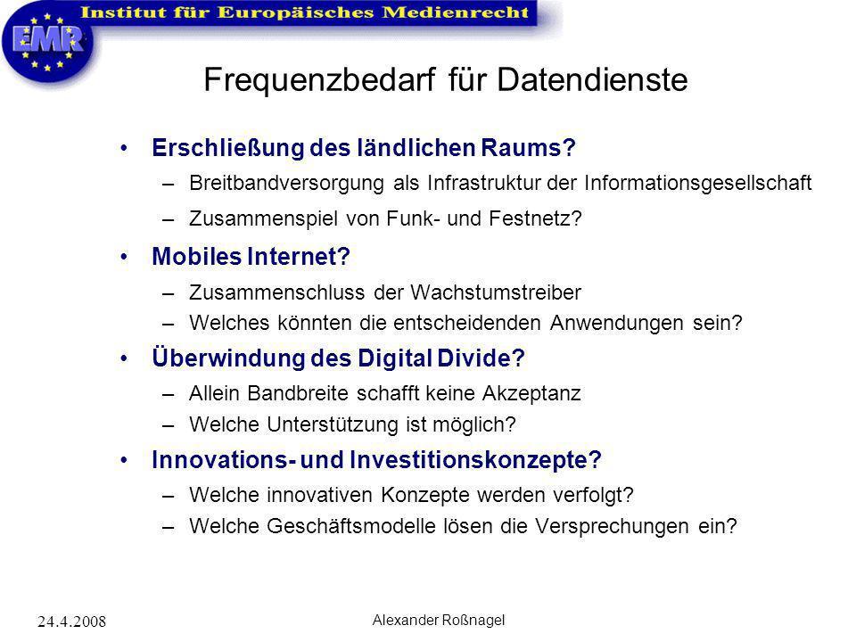 24.4.2008 Alexander Roßnagel Frequenzbedarf für Datendienste Erschließung des ländlichen Raums? –Breitbandversorgung als Infrastruktur der Information