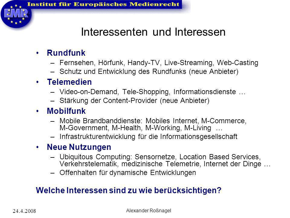 24.4.2008 Alexander Roßnagel Interessenten und Interessen Rundfunk –Fernsehen, Hörfunk, Handy-TV, Live-Streaming, Web-Casting –Schutz und Entwicklung