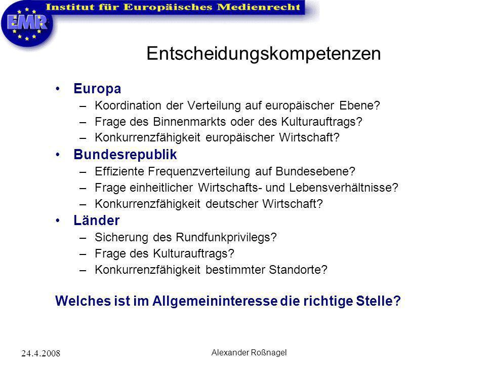 24.4.2008 Alexander Roßnagel Entscheidungskompetenzen Europa –Koordination der Verteilung auf europäischer Ebene? –Frage des Binnenmarkts oder des Kul