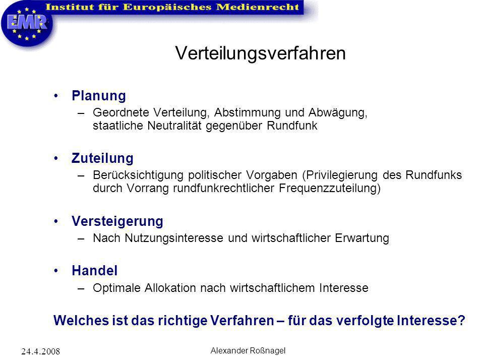 24.4.2008 Alexander Roßnagel Frequenzpolitik im internationalen Kontext Internationale Fernmeldeunion - Weltfunkkonferenz –Koordination und Harmonisierung nach technischer Effizienz.