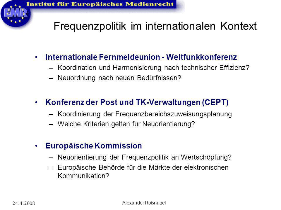 24.4.2008 Alexander Roßnagel Frequenzpolitik im internationalen Kontext Internationale Fernmeldeunion - Weltfunkkonferenz –Koordination und Harmonisie