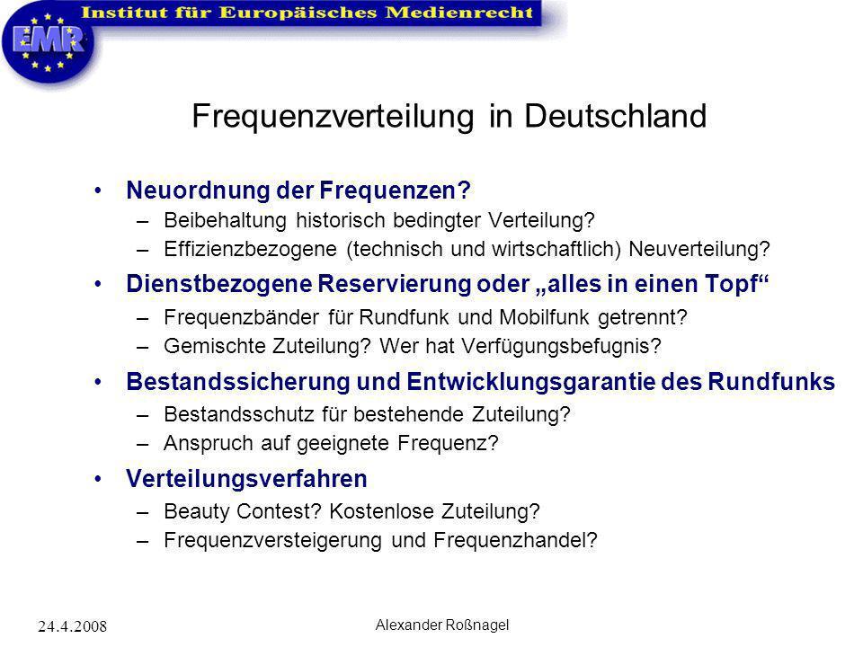 24.4.2008 Alexander Roßnagel Frequenzverteilung in Deutschland Neuordnung der Frequenzen? –Beibehaltung historisch bedingter Verteilung? –Effizienzbez