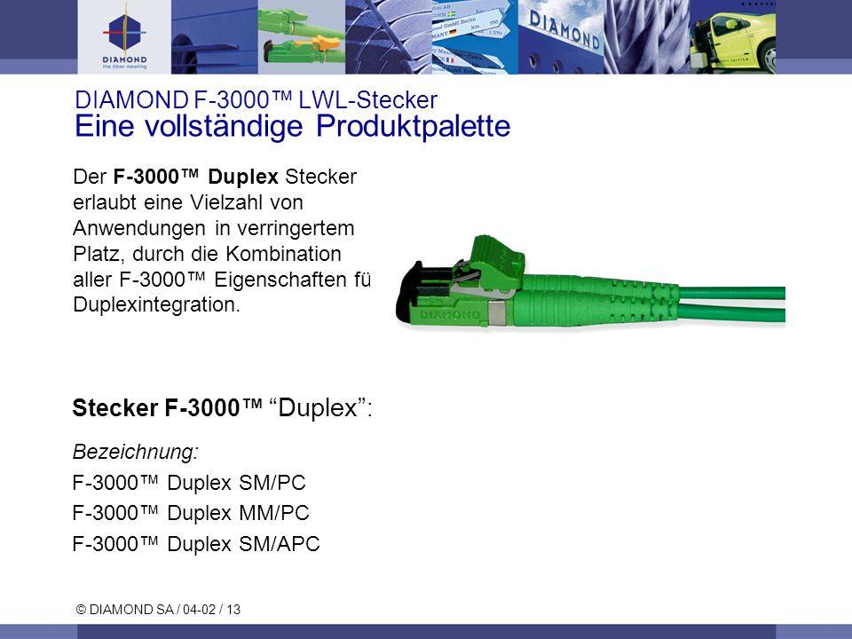 © DIAMOND SA / 04-02 / 13 DIAMOND F-3000 LWL-Stecker Eine vollständige Produktpalette Stecker F-3000 Duplex : Bezeichnung: F-3000 Duplex SM/PC F-3000 Duplex MM/PC F-3000 Duplex SM/APC Der F-3000 Duplex Stecker erlaubt eine Vielzahl von Anwendungen in verringertem Platz, durch die Kombination aller F-3000 Eigenschaften für Duplexintegration.
