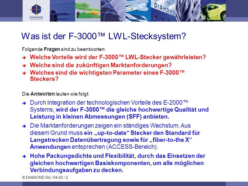 © DIAMOND SA / 04-02 / 2 Folgende Fragen sind zu beantworten: Welche Vorteile wird der F-3000 LWL-Stecker gewährleisten.