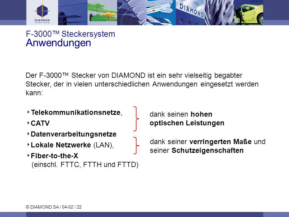 © DIAMOND SA / 04-02 / 22 Der F-3000 Stecker von DIAMOND ist ein sehr vielseitig begabter Stecker, der in vielen unterschiedlichen Anwendungen eingesetzt werden kann: Telekommunikationsnetze, CATV Datenverarbeitungsnetze Lokale Netzwerke (LAN), Fiber-to-the-X (einschl.