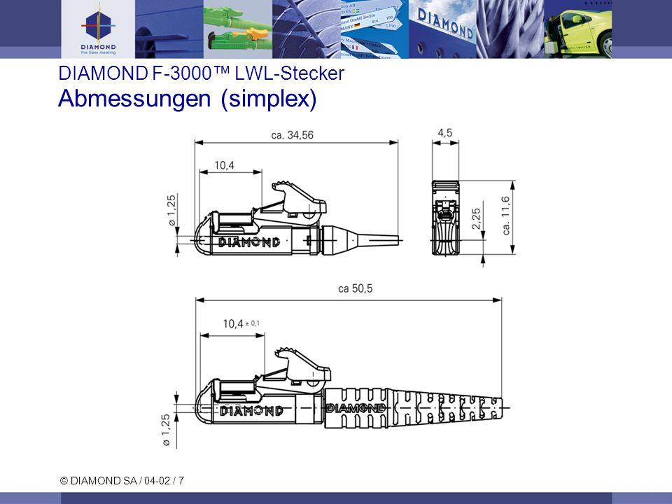 © DIAMOND SA / 04-02 / 7 DIAMOND F-3000 LWL-Stecker Abmessungen (simplex)