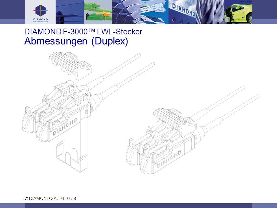 © DIAMOND SA / 04-02 / 8 DIAMOND F-3000 LWL-Stecker Abmessungen (Duplex)