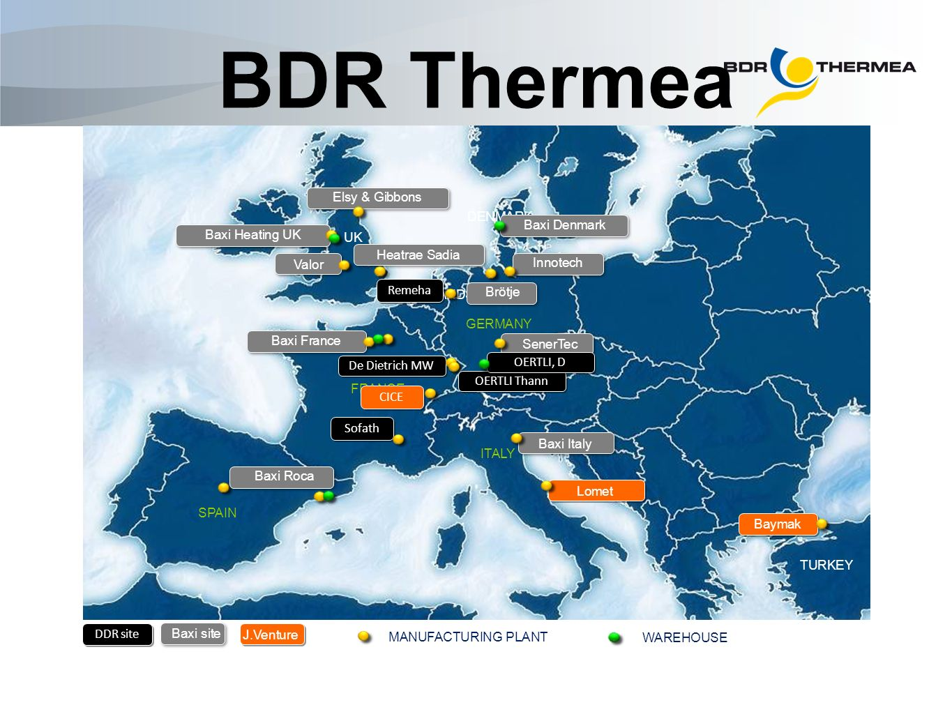 BDR Thermea currently has 21 locations SPAIN FRANCE ITALY TURKEY MANUFACTURING PLANT GERMANY DENMARK NETHERLANDS UK Baxi Heating UK Elsy & Gibbons Bax