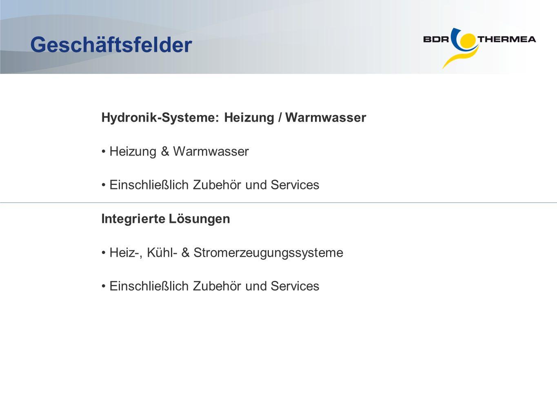 Geschäftsfelder Hydronik-Systeme: Heizung / Warmwasser Heizung & Warmwasser Einschließlich Zubehör und Services Integrierte Lösungen Heiz-, Kühl- & St