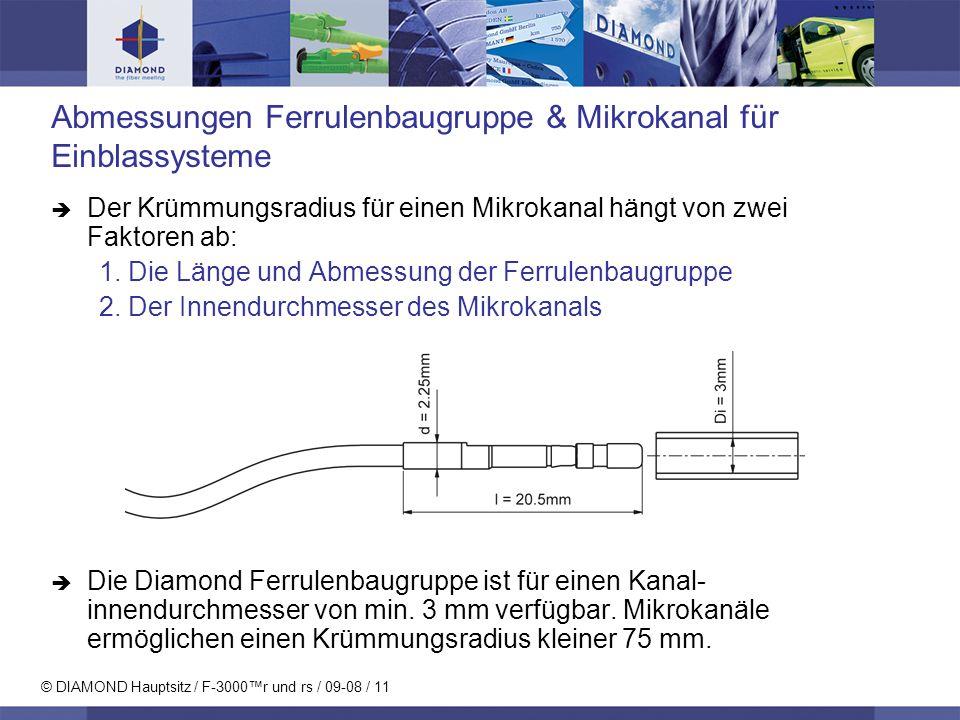 © DIAMOND Hauptsitz / F-3000r und rs / 09-08 / 12 Spezifikationen MM PCSM PCEinheitTestbedingungen Einfügedämpfung (IL) typ 0.25 max 0.5dBIEC 61300-3-4 Rückflussdämpfung (RL) min 40 min 50dBIEC 61300-3-6 Wiederholbarkeit von IL max +/- 0.15dB IEC 61300-2-2 Lebensdauer min.