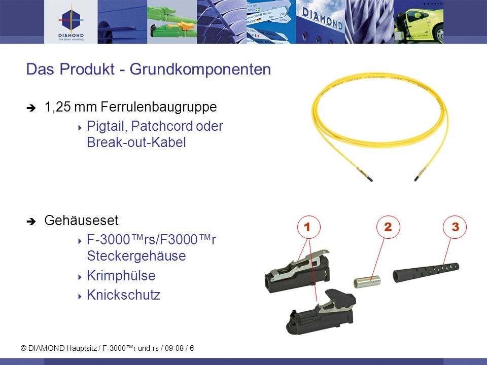 © DIAMOND Hauptsitz / F-3000r und rs / 09-08 / 7 Montagewerkzeuge und Set Krimpzange Befestigungswerkzeug Für beide Funktionen: Verwendbar zum Krimpen sowie zum Einfügen der Ferrulenbaugruppe in den Steckkörper.