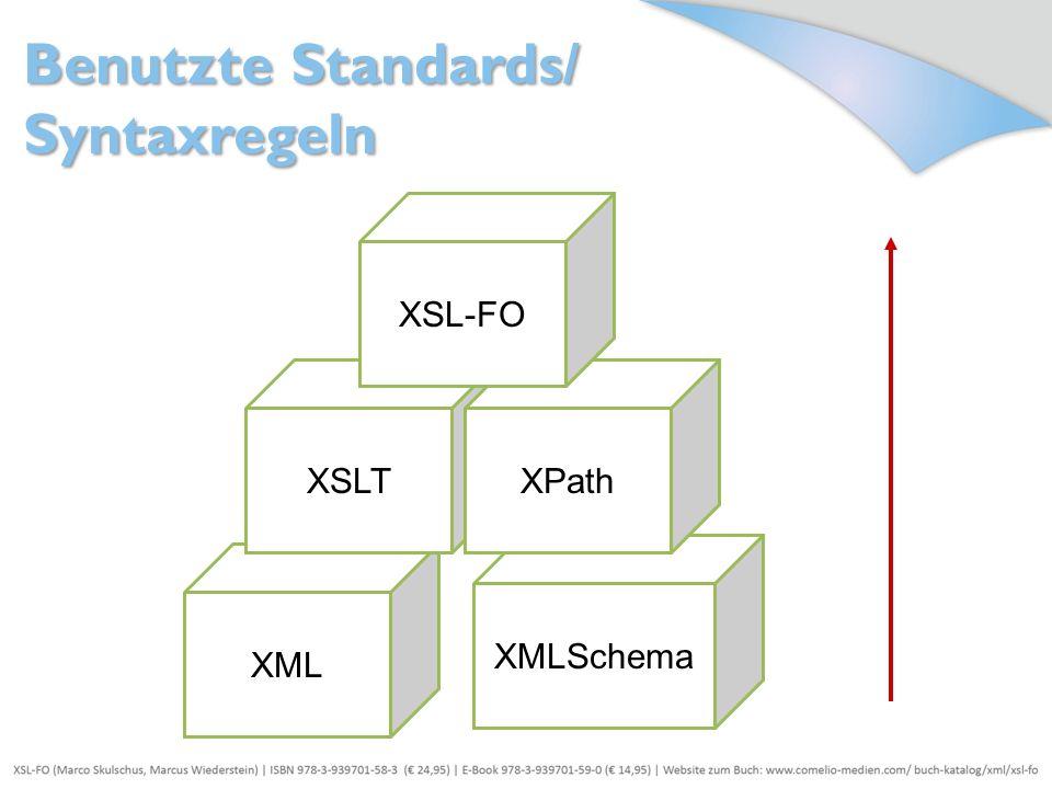 XML XMLSchema XSLTXPath XSL-FO Benutzte Standards/ Syntaxregeln