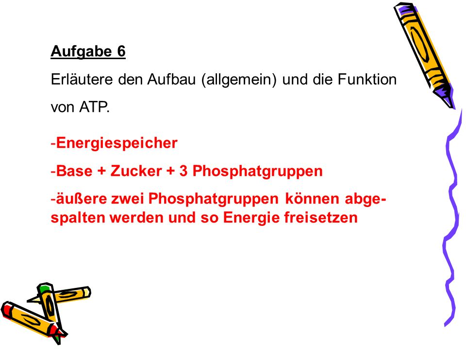 Aufgabe 6 Erläutere den Aufbau (allgemein) und die Funktion von ATP. -Energiespeicher -Base + Zucker + 3 Phosphatgruppen -äußere zwei Phosphatgruppen