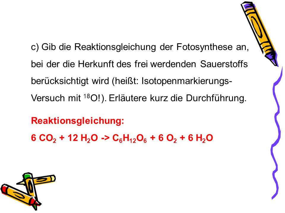 c) Gib die Reaktionsgleichung der Fotosynthese an, bei der die Herkunft des frei werdenden Sauerstoffs berücksichtigt wird (heißt: Isotopenmarkierungs
