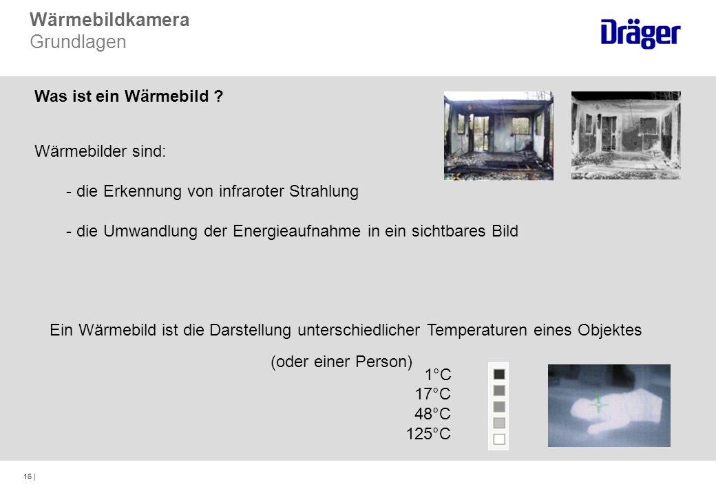 16 | Wärmebildkamera Grundlagen Was ist ein Wärmebild ? Wärmebilder sind: - die Erkennung von infraroter Strahlung - die Umwandlung der Energieaufnahm