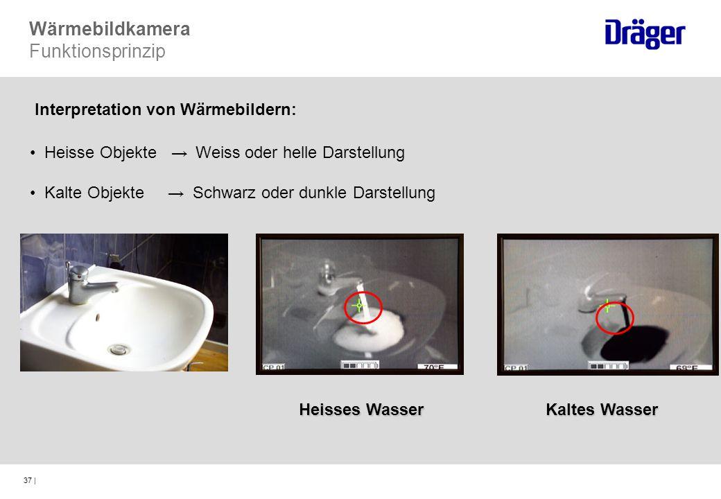 37 | Wärmebildkamera Funktionsprinzip Interpretation von Wärmebildern: Heisse Objekte Weiss oder helle Darstellung Kalte Objekte Schwarz oder dunkle D