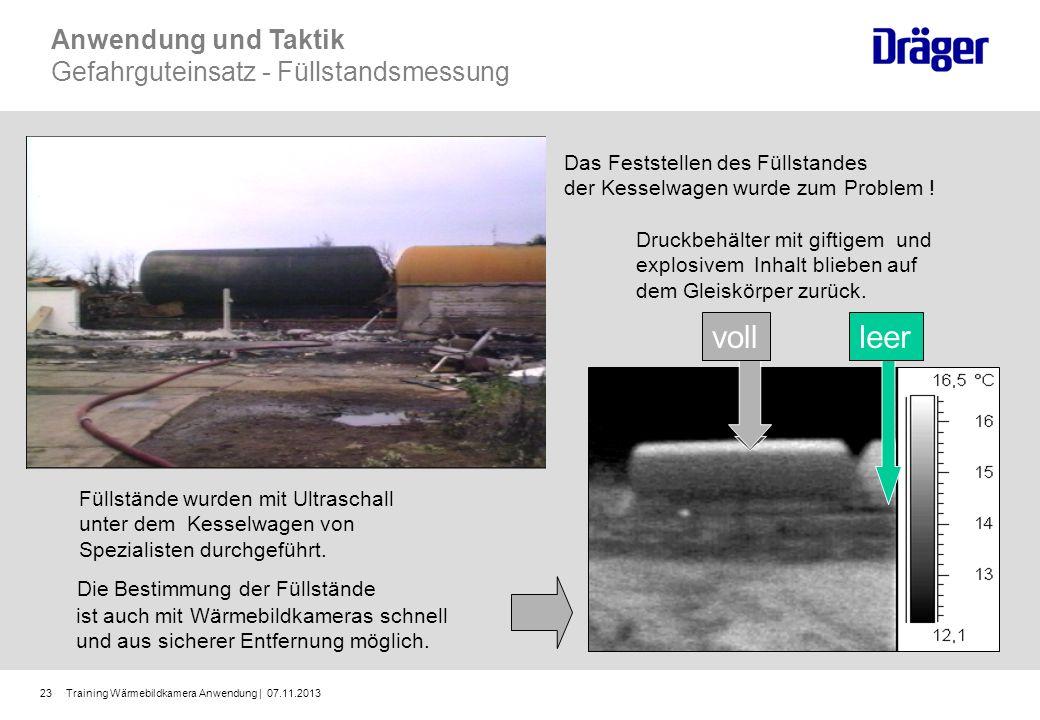 Training Wärmebildkamera Anwendung | 07.11.201323 Die Bestimmung der Füllstände ist auch mit Wärmebildkameras schnell und aus sicherer Entfernung mögl