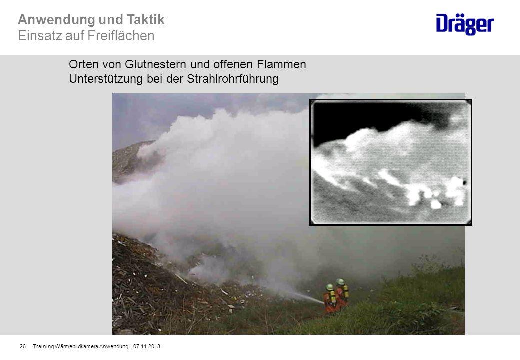Training Wärmebildkamera Anwendung | 07.11.201326 Anwendung und Taktik Einsatz auf Freiflächen Orten von Glutnestern und offenen Flammen Unterstützung
