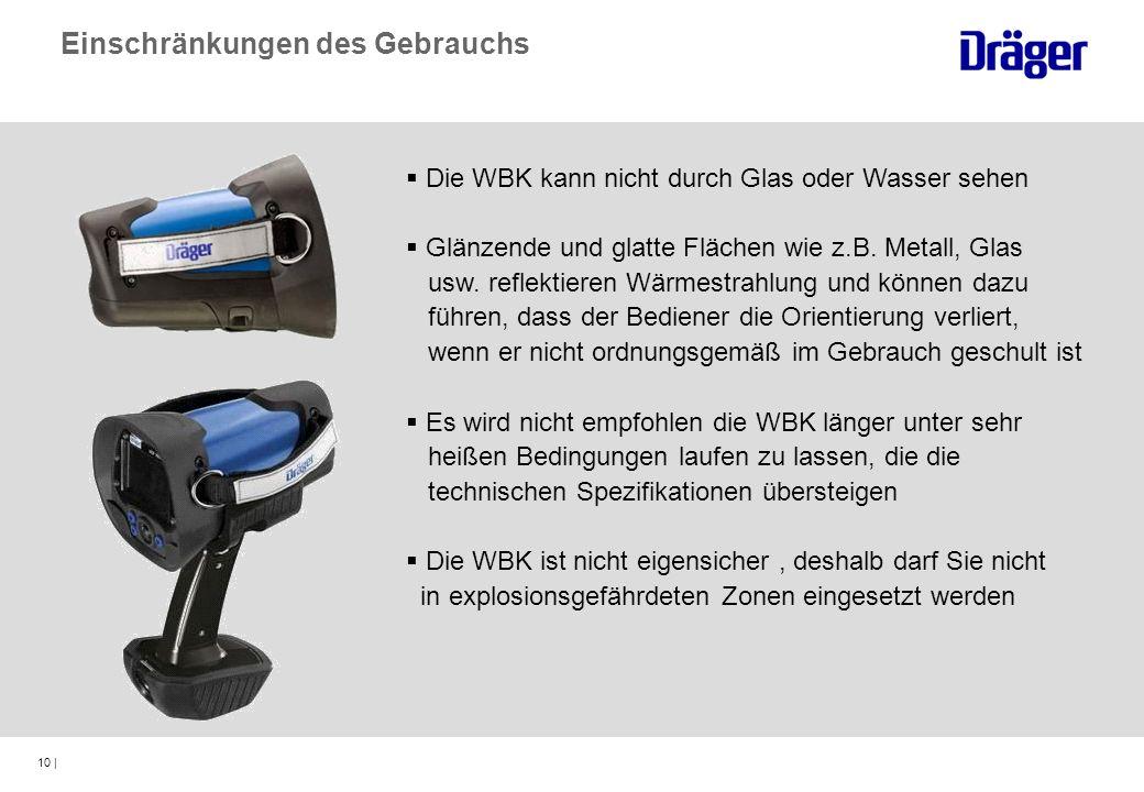 10 | Die WBK kann nicht durch Glas oder Wasser sehen Glänzende und glatte Flächen wie z.B. Metall, Glas usw. reflektieren Wärmestrahlung und können da