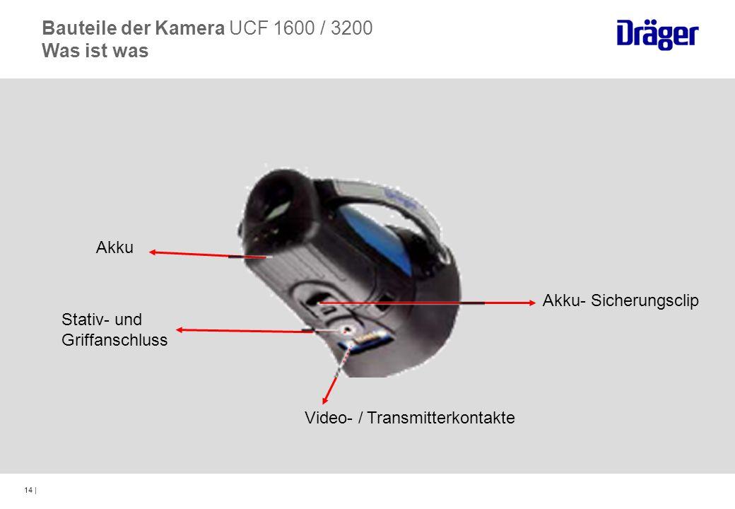 14 | Akku Stativ- und Griffanschluss Video- / Transmitterkontakte Akku- Sicherungsclip Bauteile der Kamera UCF 1600 / 3200 Was ist was
