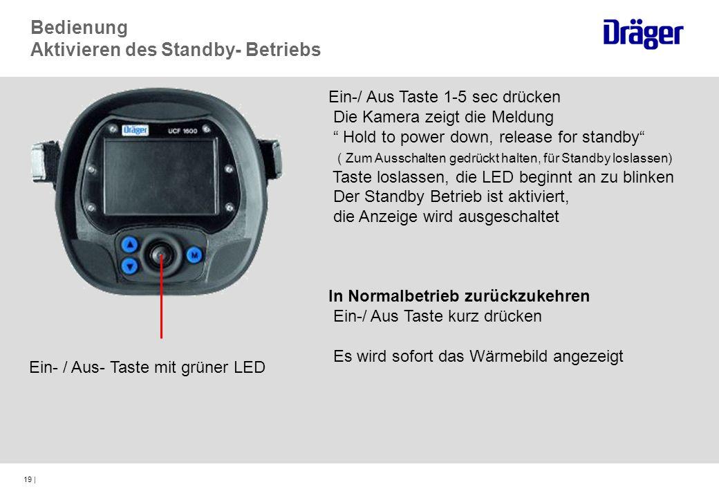 19 | Ein- / Aus- Taste mit grüner LED Bedienung Aktivieren des Standby- Betriebs Ein-/ Aus Taste 1-5 sec drücken Die Kamera zeigt die Meldung Hold to