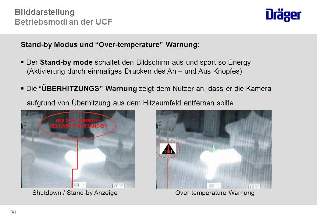 20 | Stand-by Modus und Over-temperature Warnung: Der Stand-by mode schaltet den Bildschirm aus und spart so Energy (Aktivierung durch einmaliges Drüc