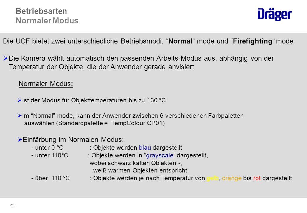 21 | Die UCF bietet zwei unterschiedliche Betriebsmodi: Normal mode und Firefighting mode Die Kamera wählt automatisch den passenden Arbeits-Modus aus