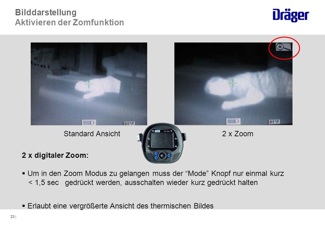 23 | 2 x digitaler Zoom: Um in den Zoom Modus zu gelangen muss der Mode Knopf nur einmal kurz < 1,5 sec gedrückt werden, ausschalten wieder kurz gedrü