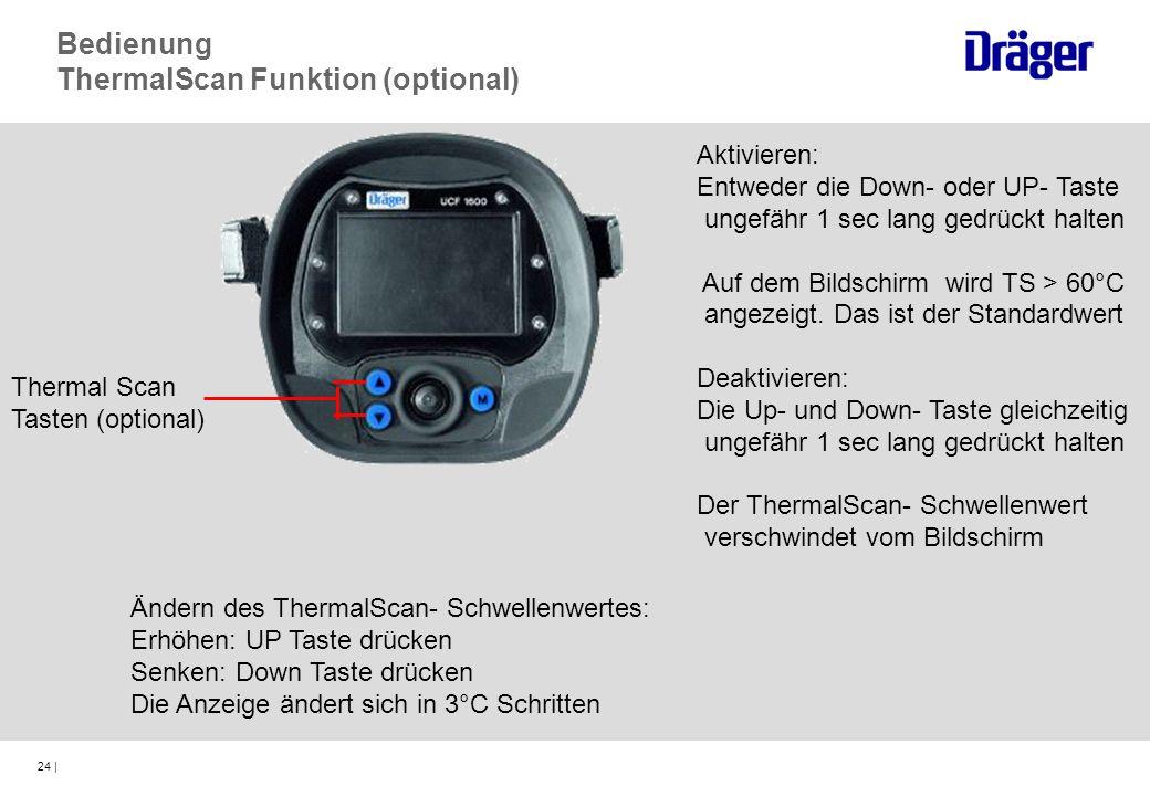 24 | Thermal Scan Tasten (optional) Bedienung ThermalScan Funktion (optional) Aktivieren: Entweder die Down- oder UP- Taste ungefähr 1 sec lang gedrüc