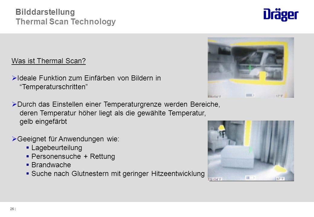 25 | Was ist Thermal Scan? Ideale Funktion zum Einfärben von Bildern in Temperaturschritten Durch das Einstellen einer Temperaturgrenze werden Bereich