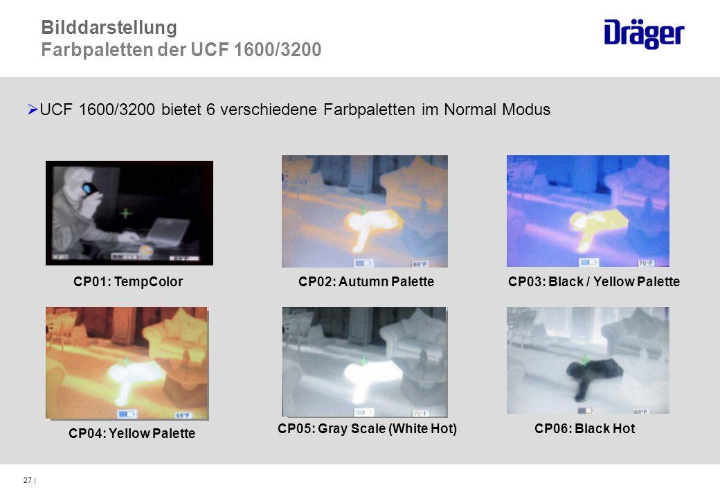 27 | UCF 1600/3200 bietet 6 verschiedene Farbpaletten im Normal Modus CP02: Autumn PaletteCP03: Black / Yellow Palette CP04: Yellow Palette CP05: Gray